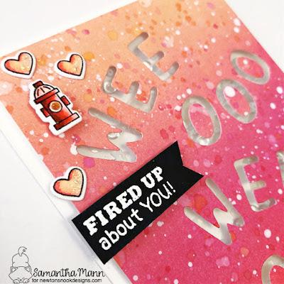 Fired Up for You Card by Samantha Mann for Newton's Nook Designs, Distress Inks, Ink Blending, Shaker, Shaker Card, Cardmaking, #newtonsnook #newtonsnookdesigns #cards #handmadecards #cardmaking #shakercard