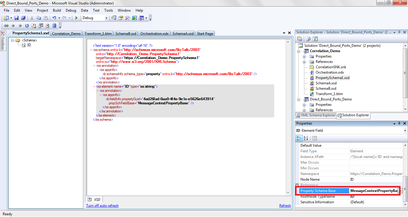 What is message context property base in orchestration in hindi