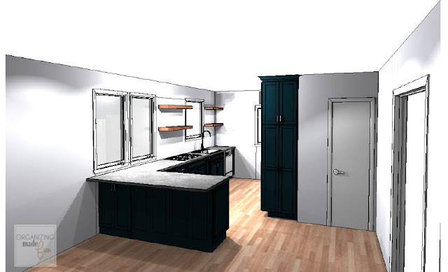 New kitchen design sketch with black cabinets and open shelving:: OrganizingMadeFun.com