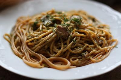 Spaghetti w sosie serowym z oscypka