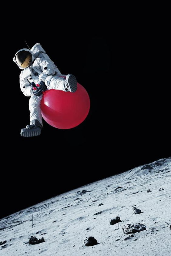 Lunar Astronaut on Space-hopper