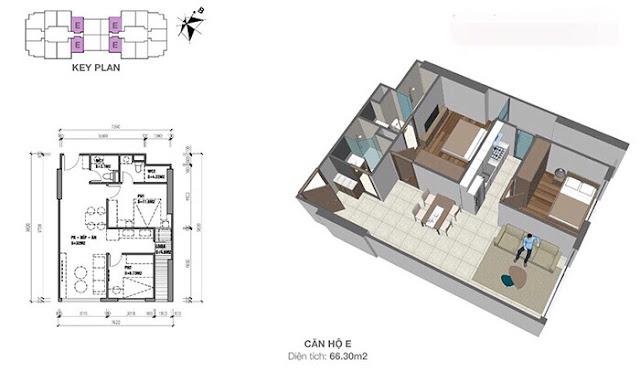Thiết kế căn hộ Eco Dream loại E - 2 phòng ngủ