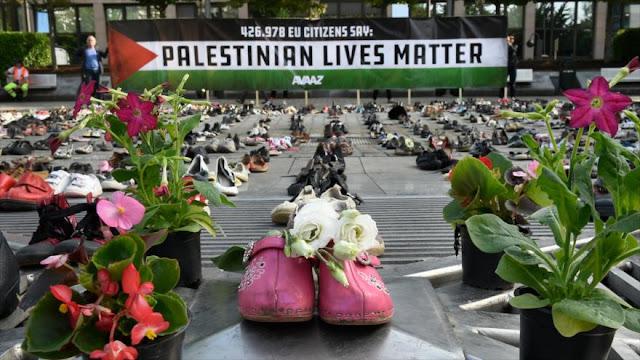 Activistas denuncian con 4500 zapatos agresiones israelíes a Gaza