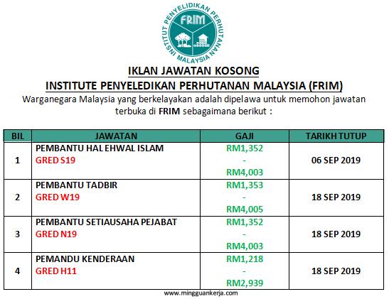 Iklan Pelbagai Jawatan Kosong Taraf PMR / SPM di Institut Penyelidikan Perhutanan Malaysia (FRIM) Ogos - September 2019