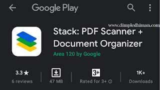 Google लॉन्च स्टैक एप्लिकेशन ( Stack : PDF Scanner + Document Organizer ) - डिंपल धीमान