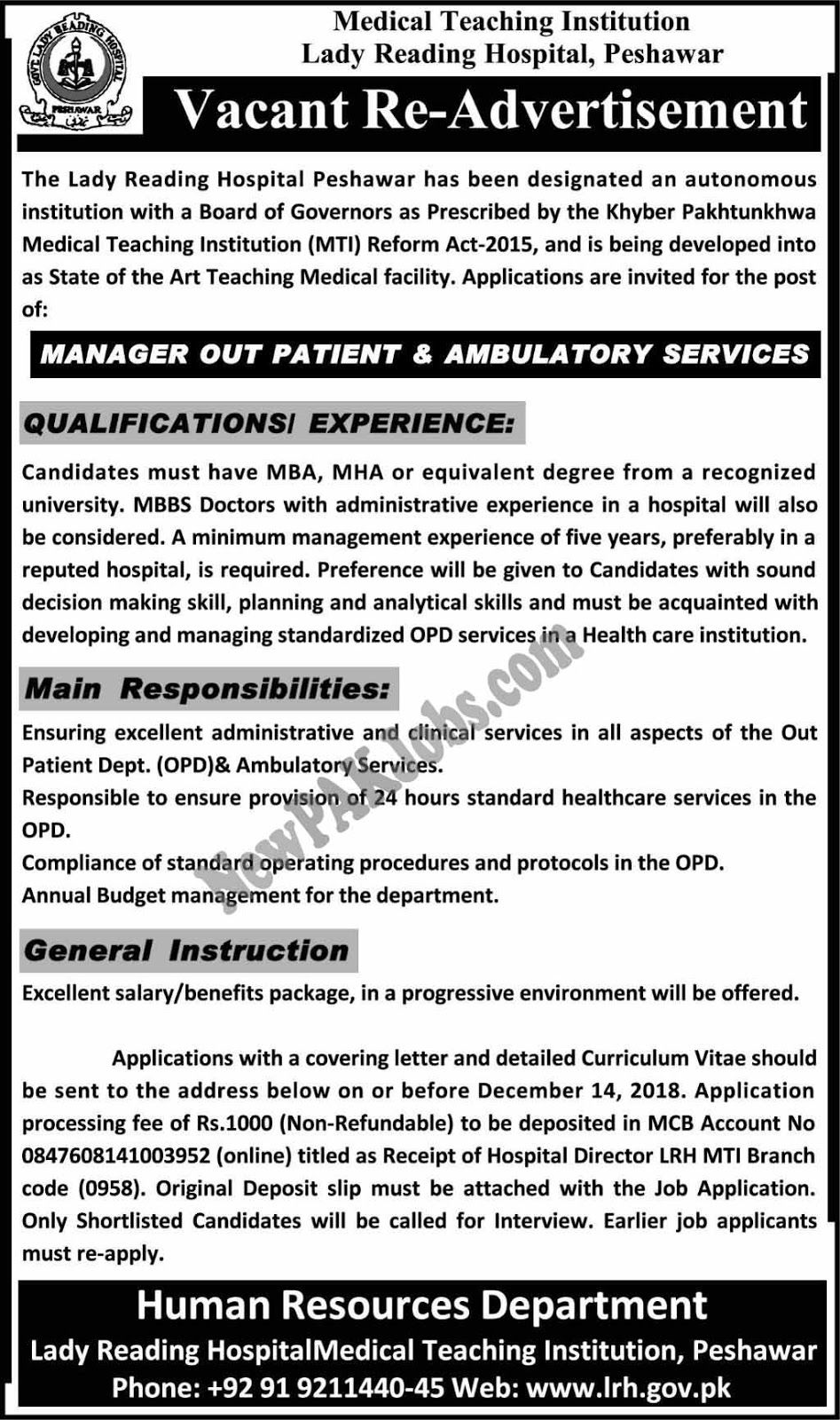 Manager Out Patient and Ambulatory Service