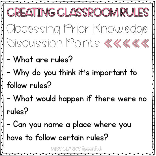 creating classroom rules accessing prior knowledge discussion questions