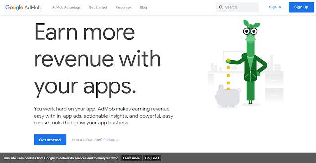 AdMob Website Homepage Screnshot