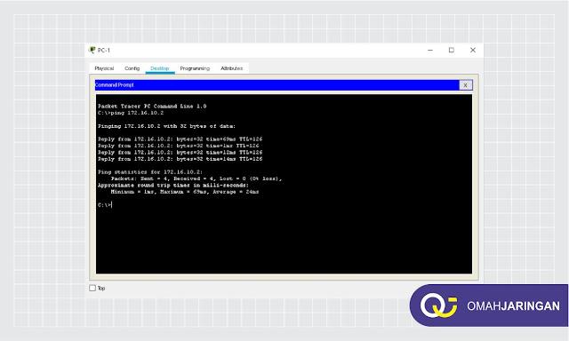 Pengetesan Ping IP antar PC yang berbeda Network Pada Simulasi Routing BGP