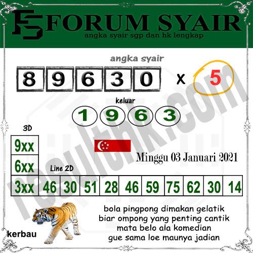 Forum Syair SGP Minggu 03 Januari 2021