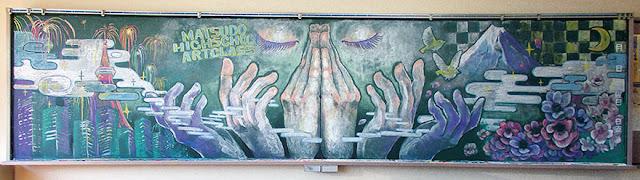 Dibujo e ilustración en pizarras o pizarrones en el salón de clases