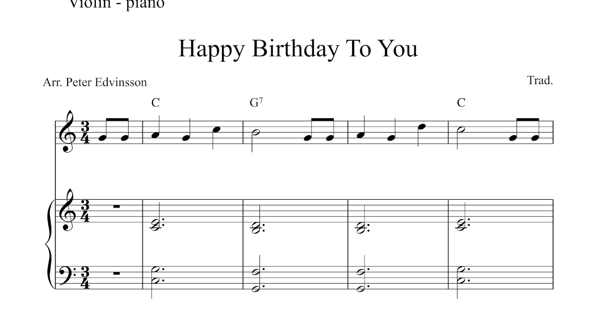 Free violin and piano sheet music : Happy Birthday To You