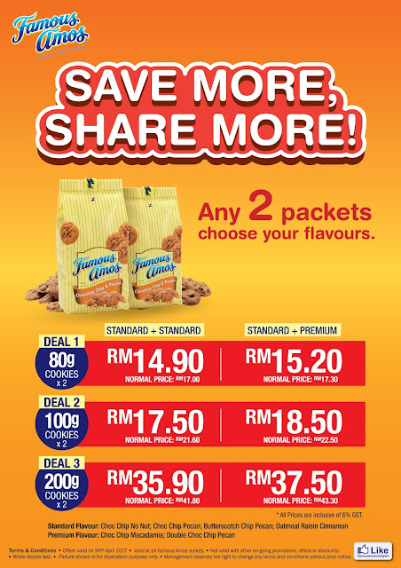 Famous Amos Malaysia 2 Packets Discount Promo