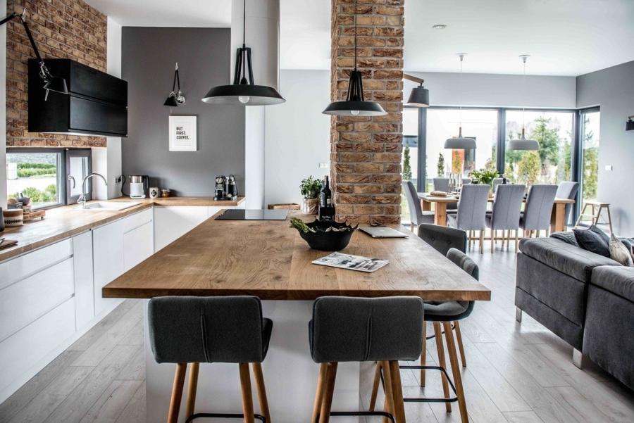 wystrój wnętrz, wnętrza, urządzanie mieszkania, dom, home decor, dekoracje, aranżacje, styl skandynawski, scandinavian style, szarości, szary, grey, czerwona cegła, otwarta przestrzeń, kuchnia, kitchen