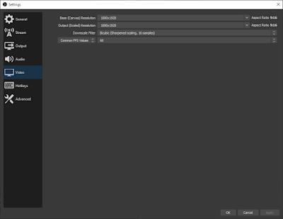 setting ukuran layar video OBS