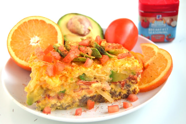 California Breakfast Casserole features layers of turkey sausage, tomato, avocado and hash browns for a hearty breakfast that can be made the night before and baked in the morning! www.nutritionistreviews.com