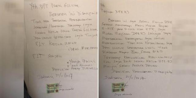 Setya Novanto tulis 'surat sakti' minta tak dicopot sebagai Ketum Golkar dan Ketua DPR
