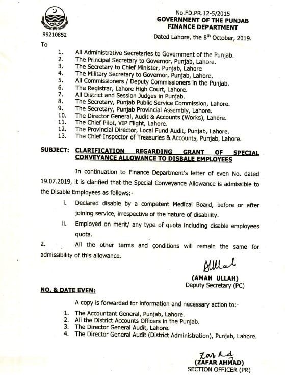 CLARIFICATION REGARDING GRANT OF SPECIAL CONVEYANCE ALLOWANCE TO DISABLE EMPLOYEES