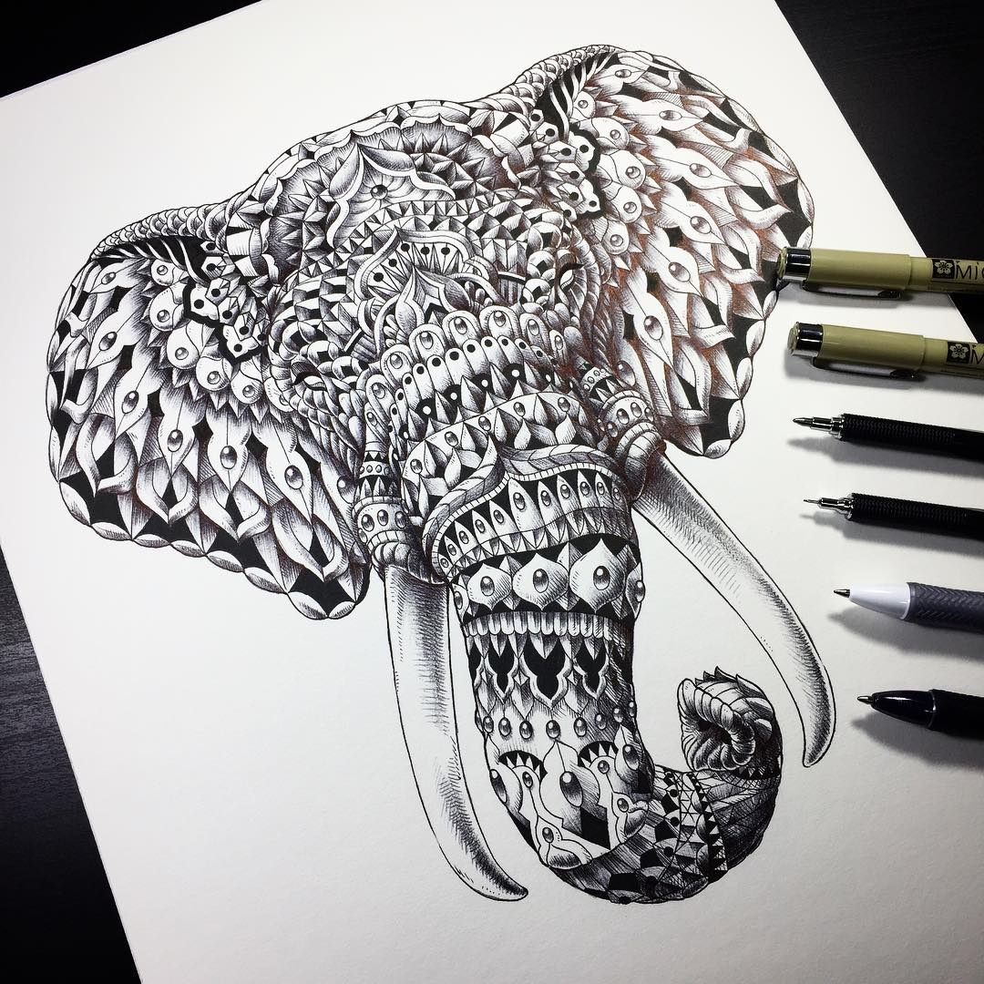 03-Elephant-Head-Ben-Kwok-bioworkz-Animals-Drawings-Detailed-with-Elaborate-Geometric-Shapes-www-designstack-co