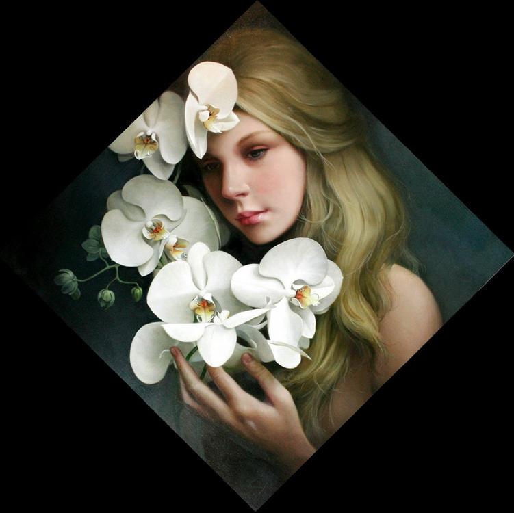 Imágenes Arte Pinturas Cuadros De Rostros De Mujeres Con Flores