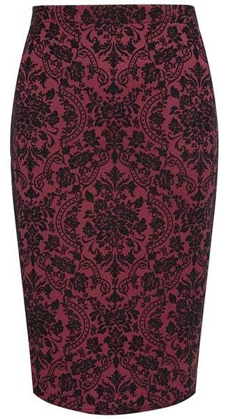 Falda de tubo con estampado barroco de Primark