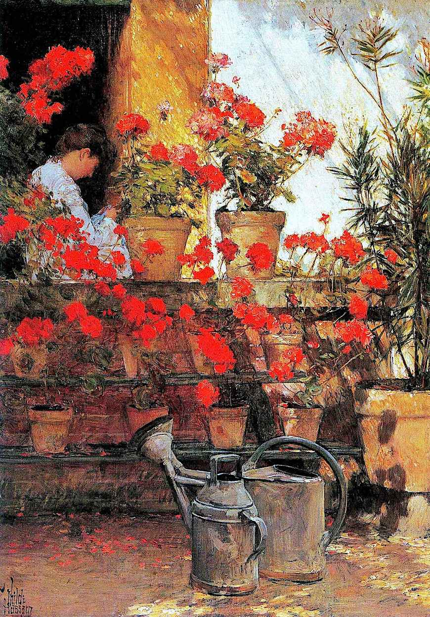 a Childe Hassam painting of red flowers