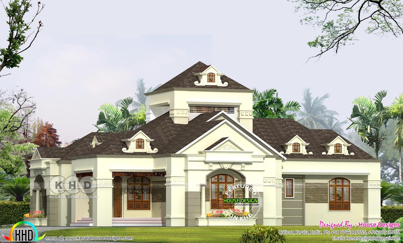 One floor Colonial type villa plan Kerala home design Bloglovin