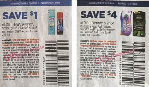 schick coupons from insert