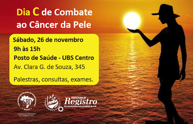 Secretaria Municipal de Saúde de Registro-SP  promoverá o Dia C de Combate ao Câncer da Pele