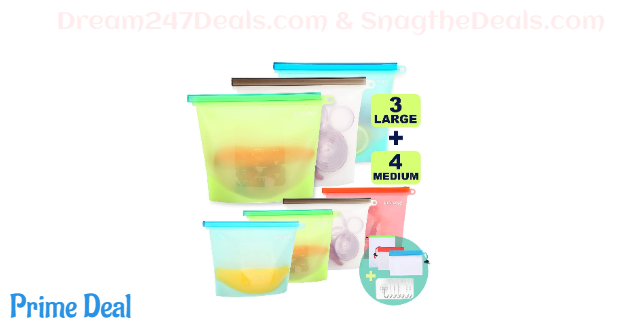 50% off Reusable Silicone Food Storage Bags