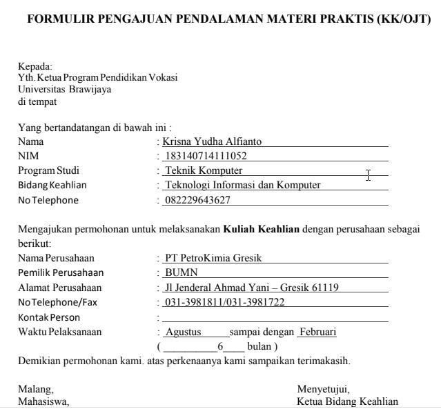 Contoh Form Magang/ K1 Dari Fakultas Terbaru 2021