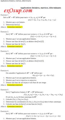 exercices corrigés sur les Applications linéaires, matrices, déterminants
