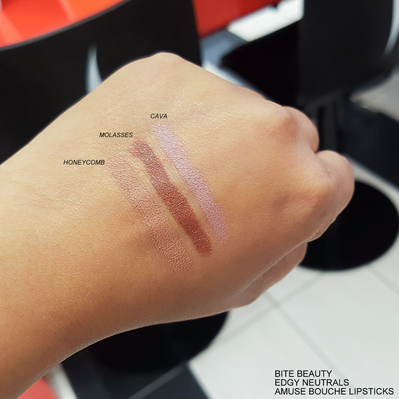 Bite Beauty Edgy Neutrals Amuse Bouche Lipsticks - Swatches  Honeycomb - Molasses - Cava