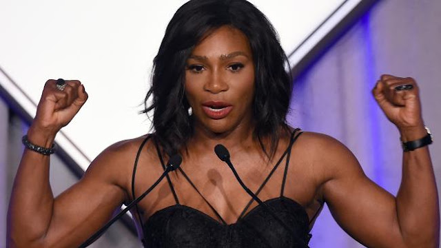 Serena Williams after winning the Sports Illustrated Sportsperson of the Year trophy.