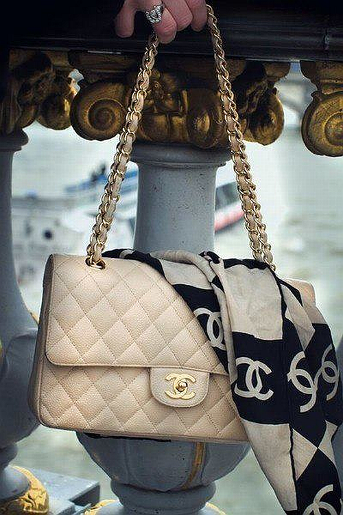 classic Chanel nude 2.55 bag with scarf