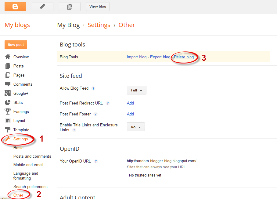 blogger settings, delete blogger blog