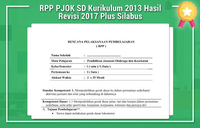 RPP PJOK SD Kurikulum 2013 Hasil Revisi 2017 Plus Silabus