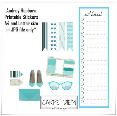 Audrey Hepburn Printable Stickers