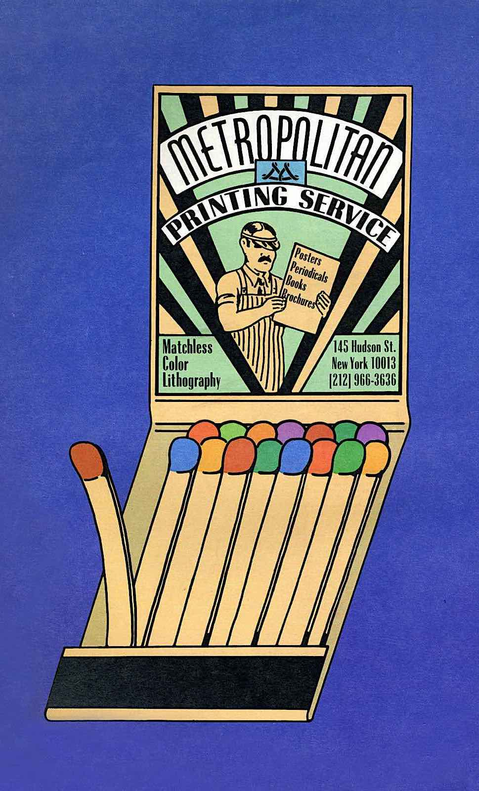 a Seymour Chwast illustration of a matchbook advertising Metropolitan Printing Service