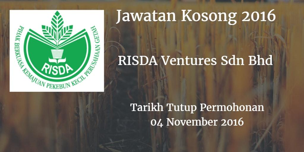 Jawatan Kosong RISDA Ventures Sdn Bhd 04 November 2016