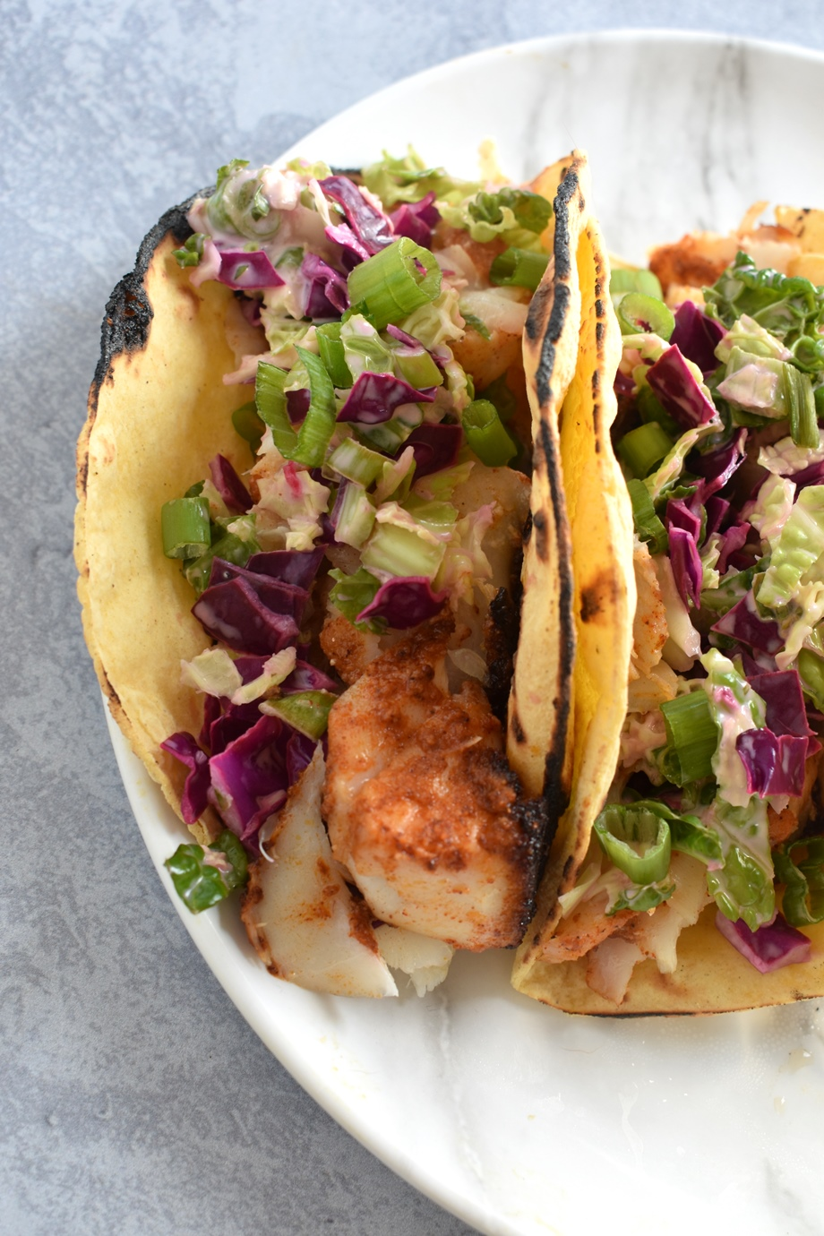 Blackened Fish Taco with lime coleslaw