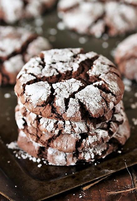 Stack of Devils Food Chocolate Crinkle Cake Mix Cookies Image