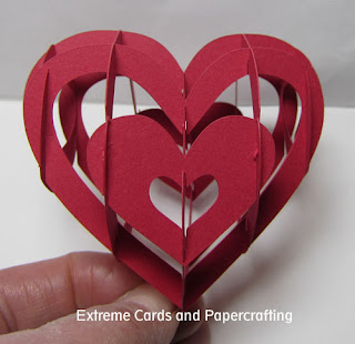 front view lattice sliceform valentine heart papercraft