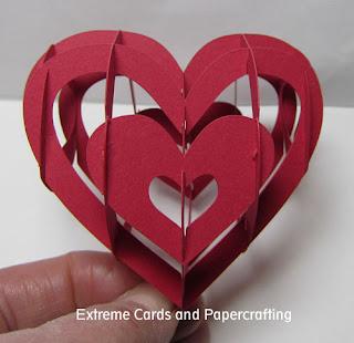 front view lattice sliceform valentine heart papercraft
