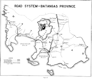 Road system of Batangas c. 1914 extracted from the Quarterly Bulletin of the Bureau of Public Works.