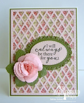 Our Daily Bread Designs Stamp Set: To My Friend,  Paper Collection: Blushing Rose,  Custom Dies Lattuce Background, Roses, Rose Leaves, Ornate Ovals, Stitched Ovals