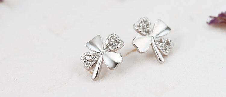 925純銀愛的幸運草耳環