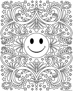Free printable happy face smiley coloring page available in jpg and transparent png formats. #Groovy #Hippie