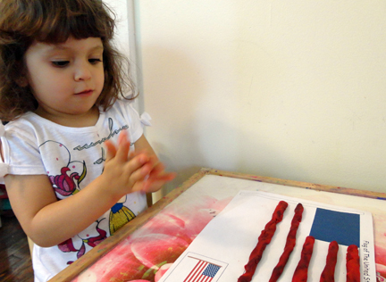 American Flag Playdough Mat for Toddlers