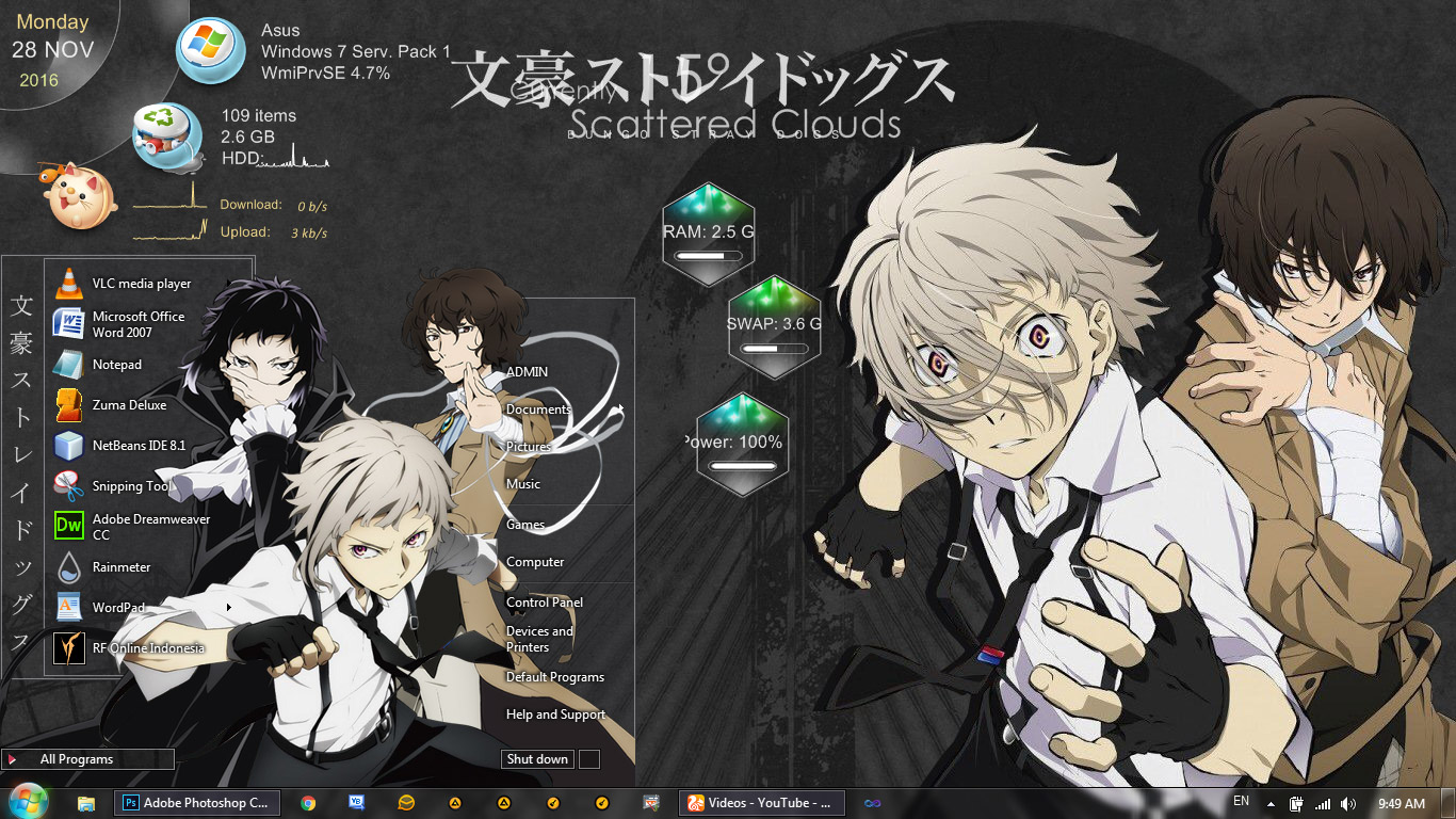Theme Windows 7 Bungou Stray Dogs By Bashkara Anime Skin